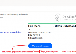 email cu link de directionare spre pagini pentru adulti
